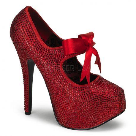 Chaussures à paillettes rouges escarpins habillés talon haut teeze-04r