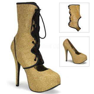 Chaussure escarpin modulable à paillette dorées talon plateau teeze-31g