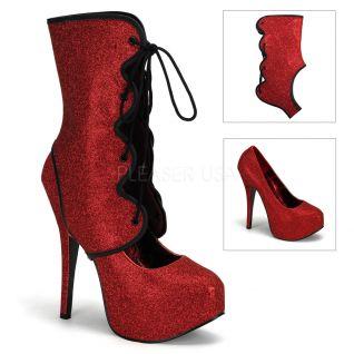 Chaussure escarpin modulable à paillettes rouges talon plateau teeze-31g
