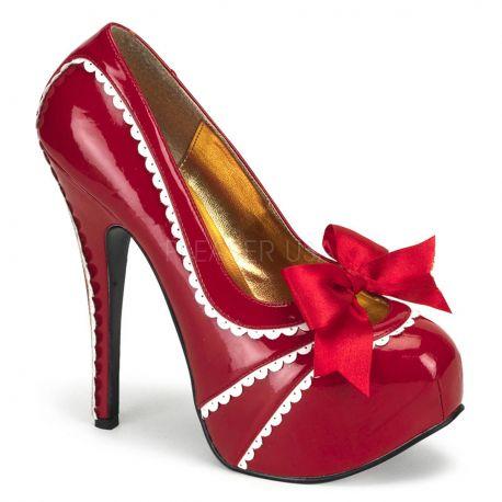 Chaussures vernies femmes escarpins rouges et blancs talon haut teeze-14