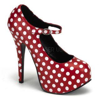 Chaussures à pois escarpins rouges et blancs à bride talon haut teeze-08