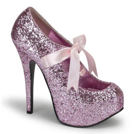 Chaussures à paillettes roses escarpins à lacet talon haut teeze-10g