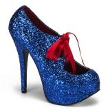 Escarpins à lacet paillettes bleues