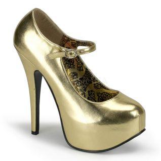 Escarpins dorés à bride