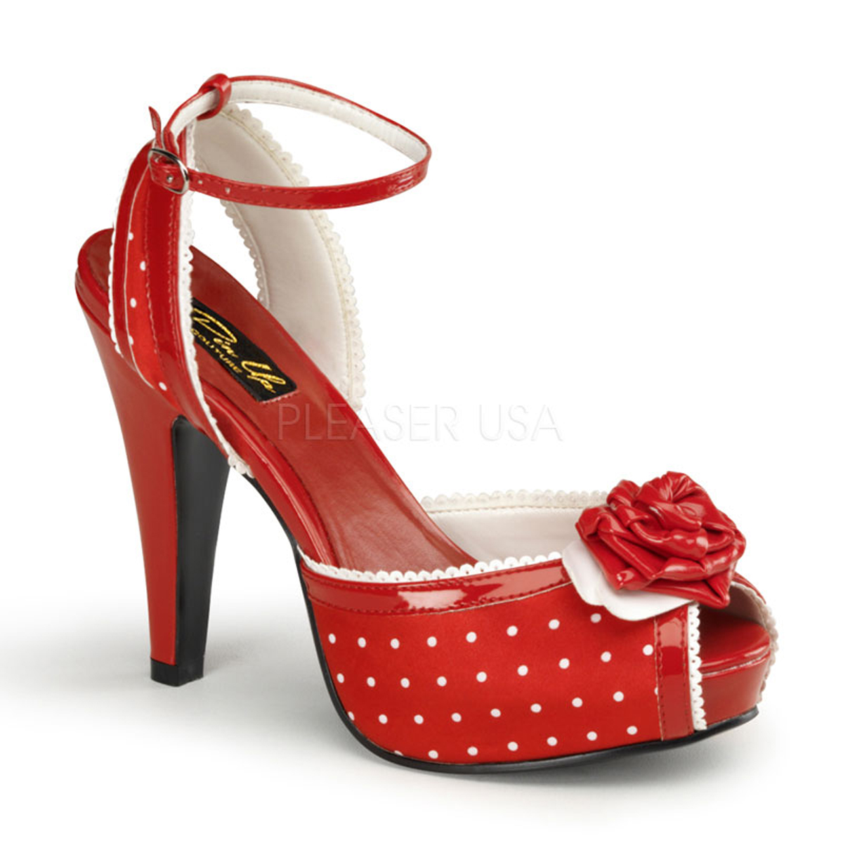 Sandales Pin Up satin rouge - Pointure : 39