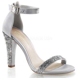 Chaussures à strass sandales argentées talon large clearly-436
