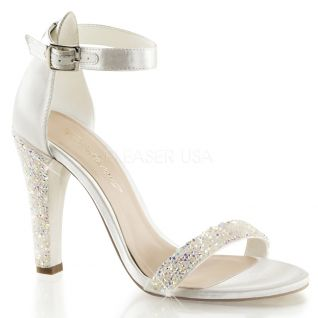 Chaussures à strass nu-pied ivoire talon large clearly-436