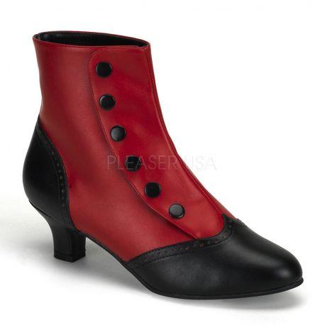 Bottines rouges et noires style rétro