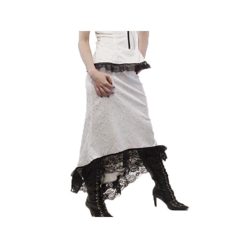 jupe longue steampunk blanche et noire pas ch re. Black Bedroom Furniture Sets. Home Design Ideas