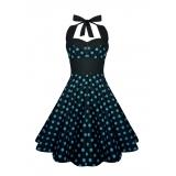 Robe polka noire à pois bleus