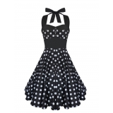 Robe rockabilly noire à pois blancs