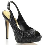 Sandales noires à paillettes lumina-28g