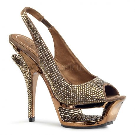 Nu-Pieds Haute Couture Bronze Talon Plateforme DELUXE-654RS