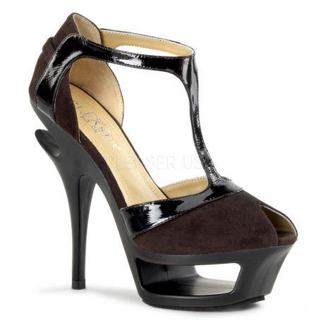 Sandale haute couture en microfibre marron talon haut DELUXE-682