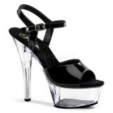 Sandales Sexy Noires Vernies Talon Plateforme Transparente KISS-209