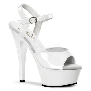 Sandales Sexy Blanches Vernies Talon Plateforme KISS-209