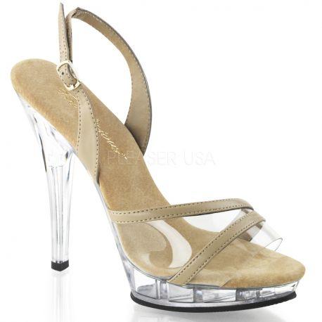 Chaussures sandales bicolores transparent et caramel talon haut LIP-137