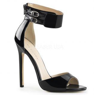Chaussures vernies sandales noires à brides talon haut sexy-19