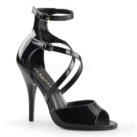 Nu-pieds noirs vernis à brides talon fin seduce-205