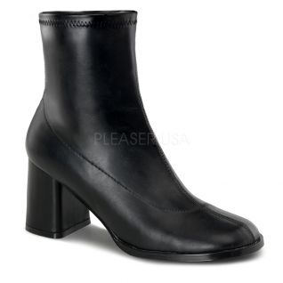 Bottines noires talon carré rétro gogo-150