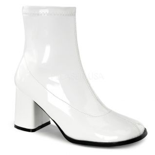 Bottines vernies blanches talon carré gogo-150