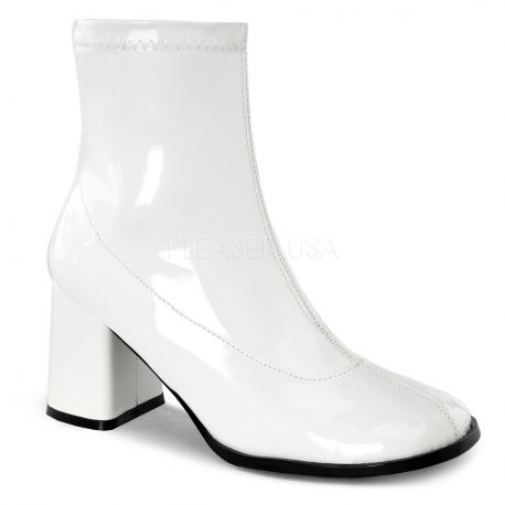 Bottines vernies blanches talon carré gogo,150