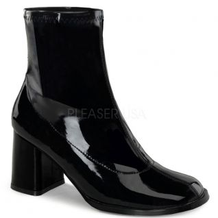 Bottines noires vernies talon carré gogo-150