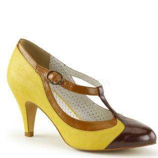 Escarpins salomés jaunes style rétro peach-03