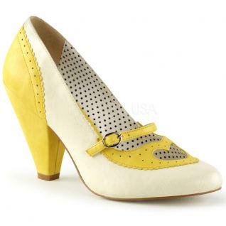 Escarpins Pin Up coloris beige et jaune  poppy-18