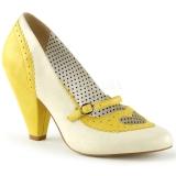 Escarpins Pin Up coloris beige et jaune