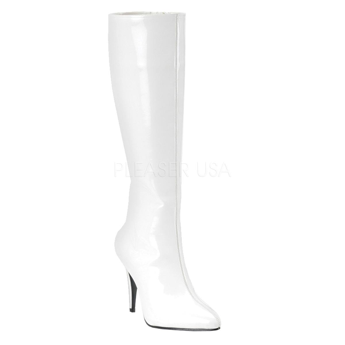 bottes blanches brillantes en vinyle pas chères