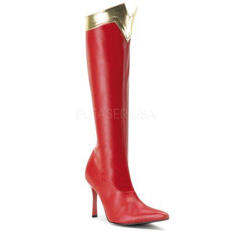 Bottes Wonder Woman Rouge \u0026 Or Talon Haut WONDER,130