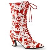 Bottines blanches et rouges style rétro
