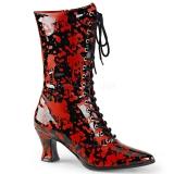 Bottines à lacet coloris rouge et noir