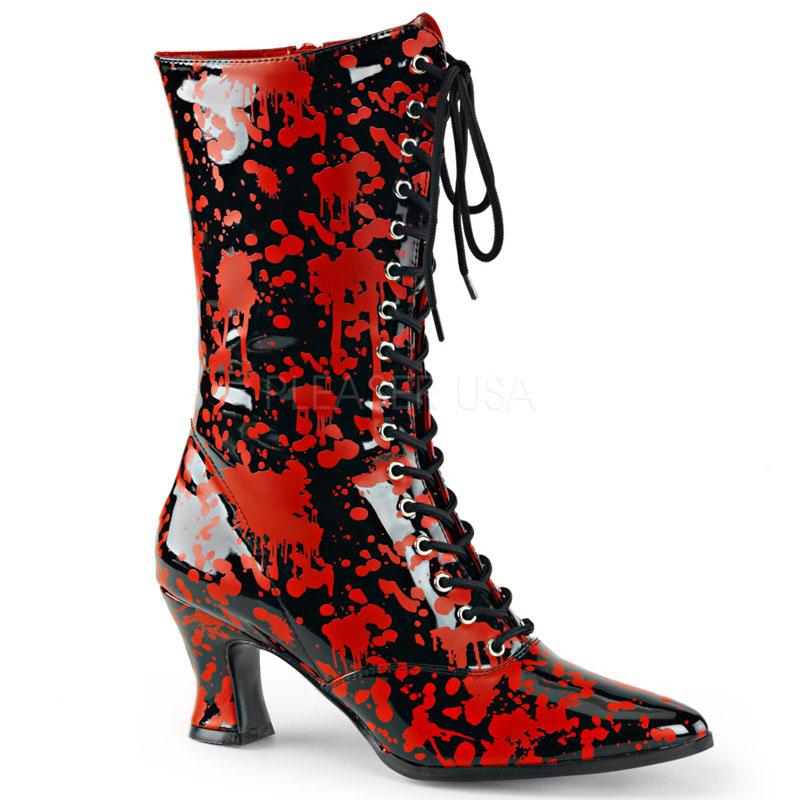 Bottines à lacet coloris rouge et noir - Pointure : 36
