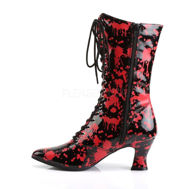 bottines rouges a lacets