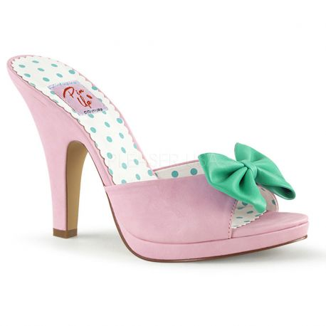 Mule Pin Up coloris rose talon large siren-03