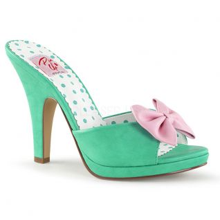 Mules Pin Up coloris vert talon haut siren-03