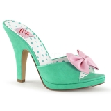 Mules Pin Up coloris vert talon haut