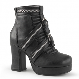 Bottines en cuir noir talon carré