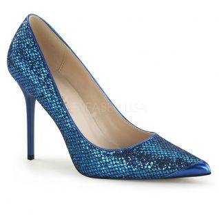 Escarpins coloris bleu à paillettes classique-20