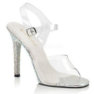 Sandales transparentes talon strass