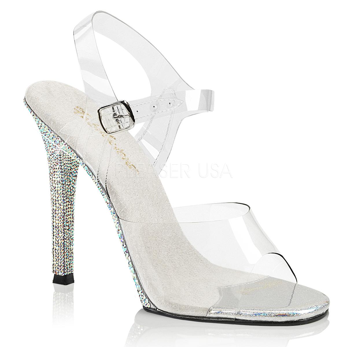 Sandales transparentes talon strass - Pointure : 39