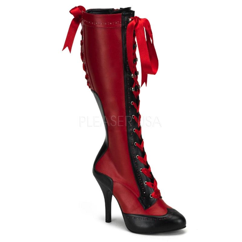 bottes vintages rouges et noires lacet talon fin. Black Bedroom Furniture Sets. Home Design Ideas
