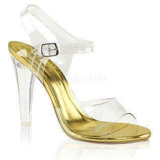Sandales transparentes semelle dorée clearly-408