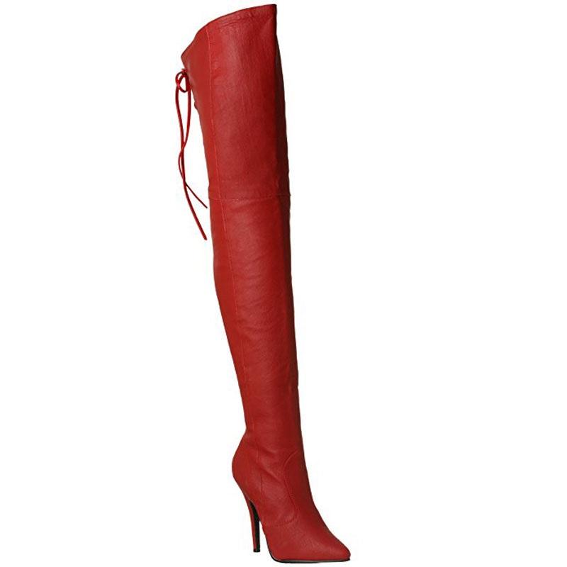 Cuissardes rouges en cuir - Pointure : 43