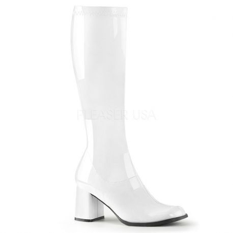 Bottes vernies blanches style rétro gogo-300