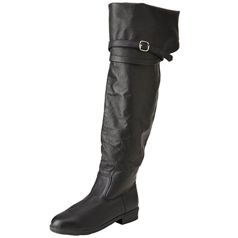 Cuissardes hommes en cuir noir style jack sparrow - Verlicht en cuir noir ...