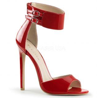 Sandale rouge vernis à bride talon aiguille