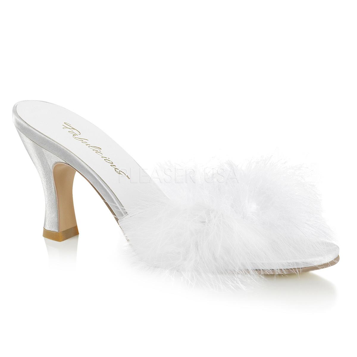 Mules pompon petit talon chaussures d intérieur 5c91bbf025ea